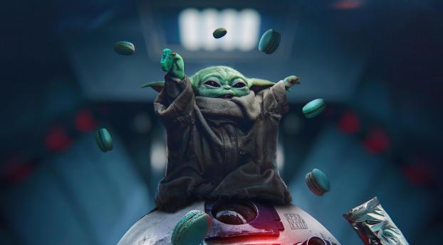 Baby Yoda eating Oreos Wallpaper