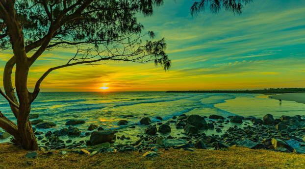 Beautiful Beach Sunset Under Blue Cloudy Sky Wallpaper 800x1280 Resolution