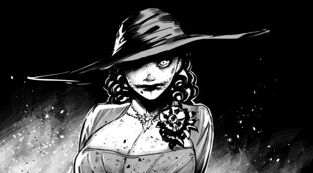Black & White Lady Dimitrescu Cool Resident Evil Village Wallpaper