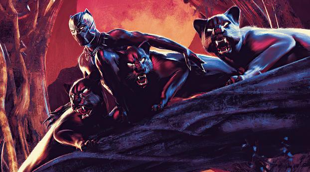 Black Panther Cool Digital Comic Art Wallpaper