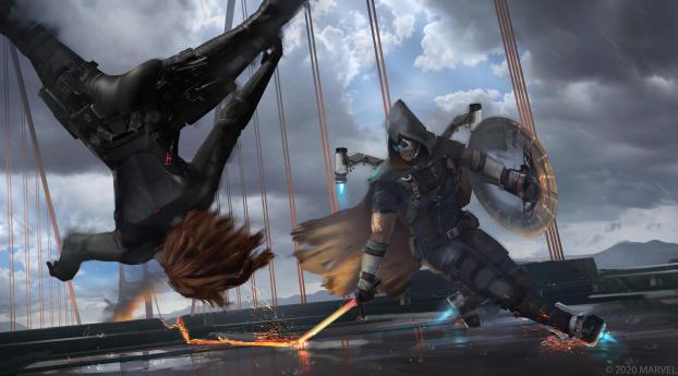 HD Wallpaper | Background Image Black Widow vs Taskmaster Marvel's Avengers