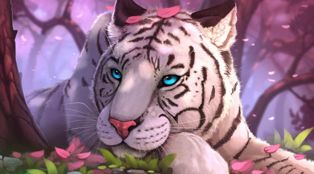 HD Wallpaper | Background Image Blue Eyes White Tiger In Fantasy World