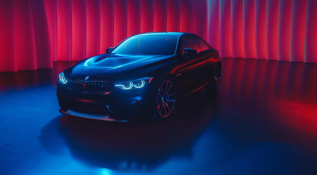 BMW M4 Neon Color Art Wallpaper in 1336x768 Resolution