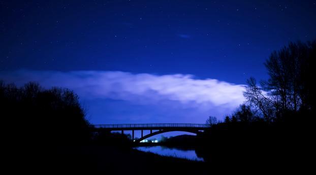 Bridge night clouds starry sky hd 4k wallpaper - Starry sky 4k ...