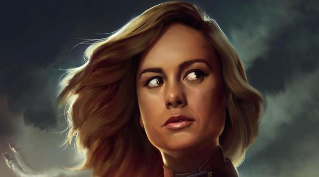1242x2688 Brie Larson Captain Marvel Artwork Iphone Xs Max Wallpaper