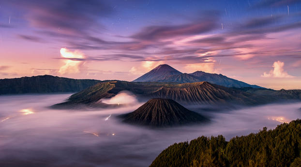 Calm Volcano Landscape in Fog Wallpaper