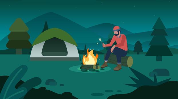 Camping Digital Wallpaper