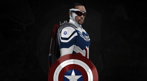 Captain America Sam Wilson Minimal 4K Wallpaper 1680x1050 Resolution