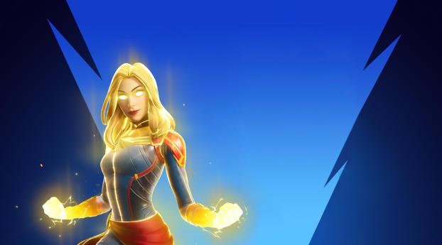 Captain Marvel 4K Fortnite Wallpaper