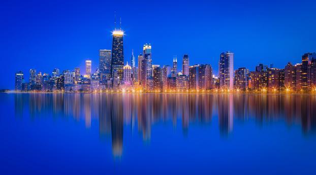 HD Wallpaper | Background Image Chicago Lake Michigan Skyscraper Reflection