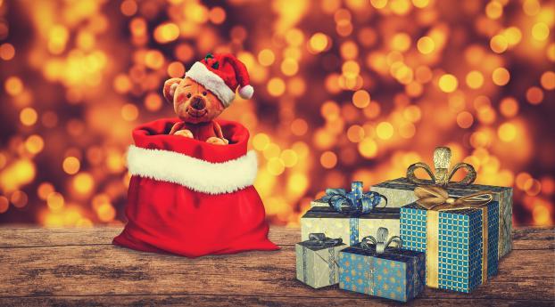 Christmas Gift Teddy Bear Wallpaper