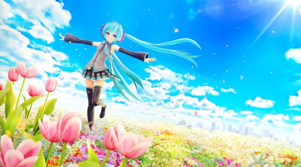 chuukarudoruhu, hatsune miku, vocaloid Wallpaper 1360x768 Resolution