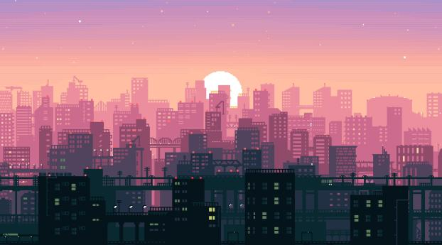 HD Wallpaper   Background Image City Building Sunshine Pixel Art