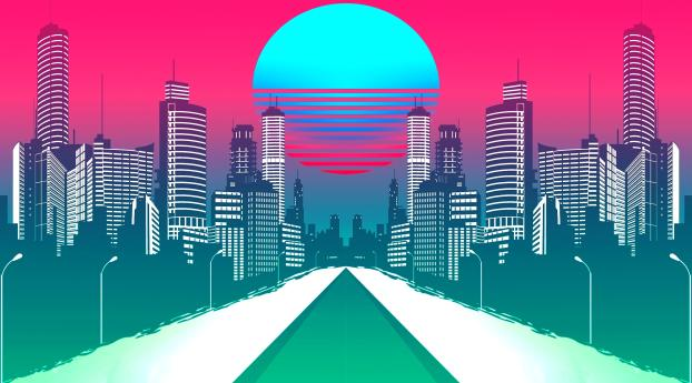 HD Wallpaper | Background Image City Retrowave Synthwave Art