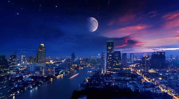 Cityscape 4K Nightscape Wallpaper 320x240 Resolution