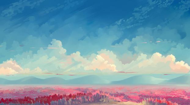 Cloudy Field Paint Wallpaper 1152x864 Resolution