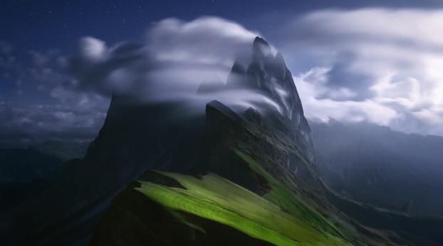 Cloudy Green Mountain Peak Wallpaper 1080x2160 Resolution