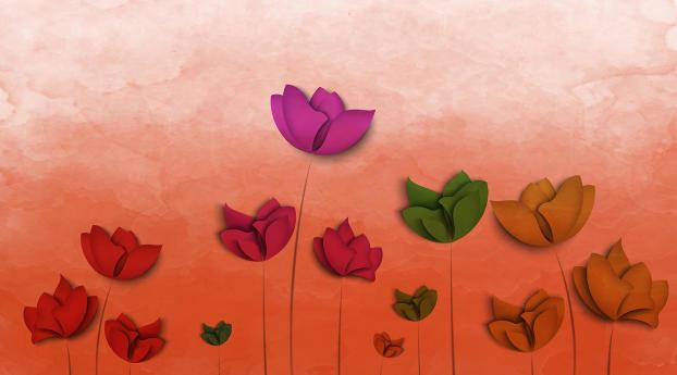 Colorful Flowers Digital Art Wallpaper 2048x2048 Resolution