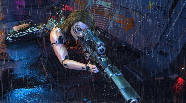 Cool Cyborg Sniper Wallpaper 1920x1080 Resolution