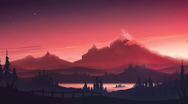 Cool Red Mountains 4K Wallpaper