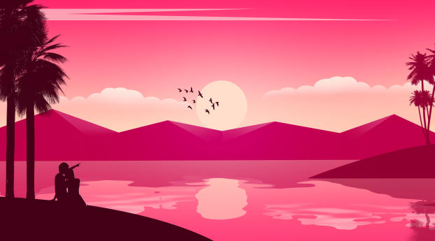 HD Wallpaper | Background Image Couple Seeing Sunset