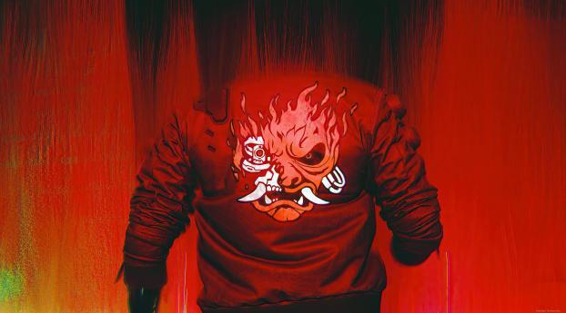 Cyberpunk 2077 Glitch Fire Art Wallpaper