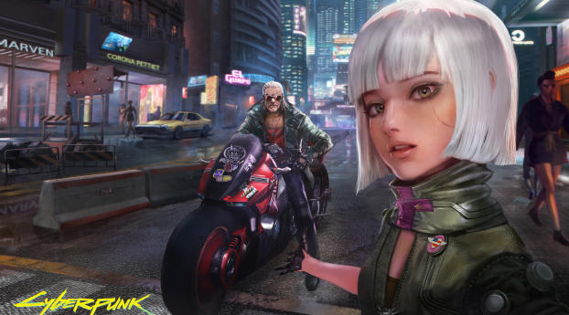 Cyberpunk 2077 Selfie with Biker Wallpaper