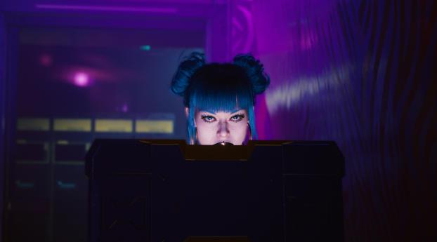 Cyberpunk Cyborg Blue Hair Girl Wallpaper