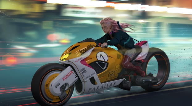 Cyberpunk Cyborg Girl Biker 2077 Wallpaper
