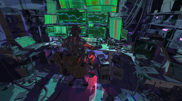 Cyberpunk Robot Hacking Stock Market Wallpaper