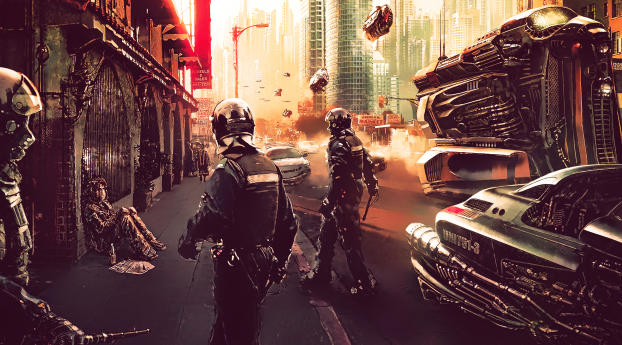 HD Wallpaper | Background Image Cyberpunk Science Fiction Futuristic City And Police