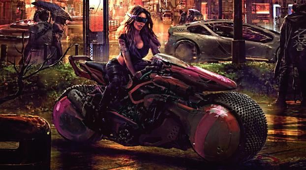 Cyberpunk Woman in Motorcycle Wallpaper