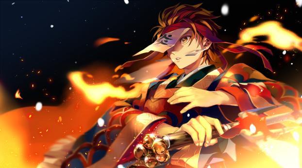 Dance of the Fire God [Hinokami Kagura] Wallpaper in 1242x2688 Resolution