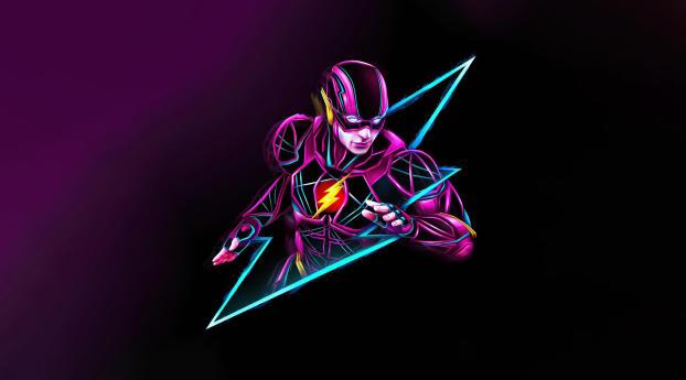 DC Flash Neon Art Wallpaper 720x1280 Resolution