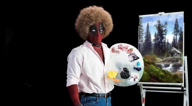 HD Wallpaper | Background Image Deadpool 2 Ryan Reynolds As Bob Ross Painting In Afro Hair