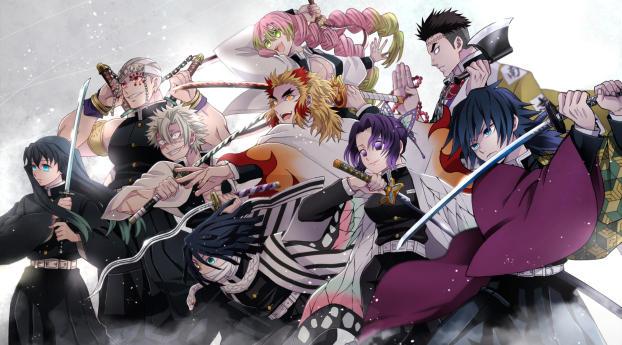 Demon Slayer Kimetsu no Yaiba Team Wallpaper 2160x3840 Resolution