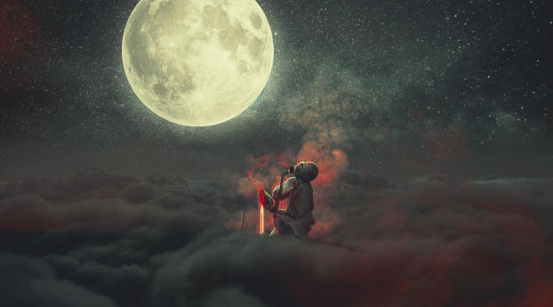 HD Wallpaper | Background Image Demon Staring At Moon