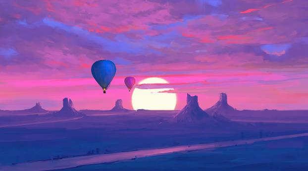 Desert Art and  Hot Air Balloon Wallpaper 800x1280 Resolution