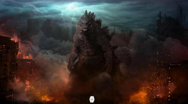 Digital Godzilla Concept Wallpaper