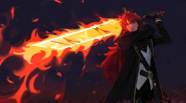 Diluc with Sword Genshin Impact 4K Wallpaper