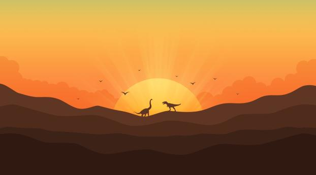 HD Wallpaper | Background Image Dinosaurs In Gradient Sunrise
