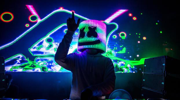 DJ Marshmello HD Neon Wallpaper