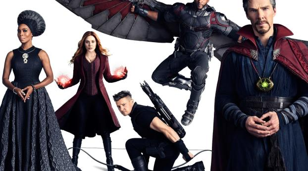 HD Wallpaper | Background Image Doctor Strange, Falcon, Scarlet Witch And Hawkeye In Avengers Infinity War