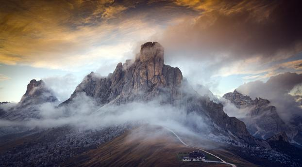 HD Wallpaper | Background Image Dolomites Italy Fogy Mountains