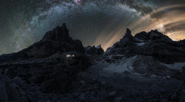 Dolomites Mountains Milky Way Wallpaper 1080x1920 Resolution
