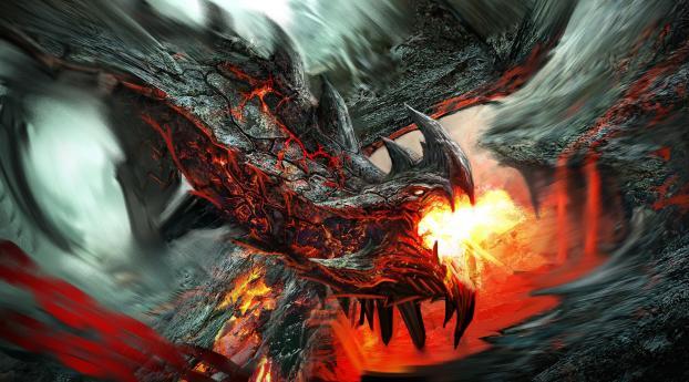 dragon, fire-breathing, flame Wallpaper