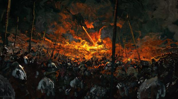 Dragon Fire in Battle Wallpaper