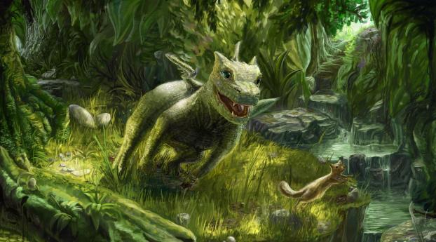 dragon, small, squirrel Wallpaper