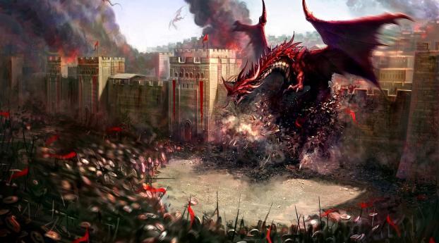dragons, city, wall Wallpaper