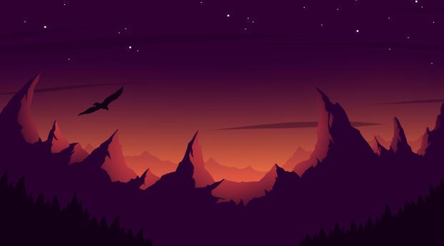 Eagle Mountain Sunset Minimalist Wallpaper